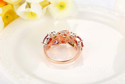 Gold Rose Color  Ring with Colorful Cubic Zircon