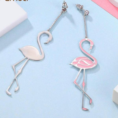Elegant Pink Flamingo Enamel Earrings