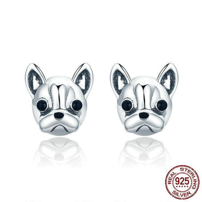 Sterling Silver Earrings Cute French Bulldog Dog