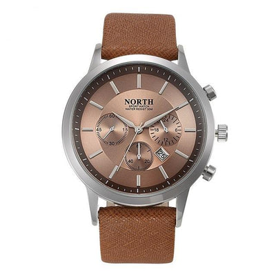 Luxury Men Watches Genuine Leather Sport style brown color