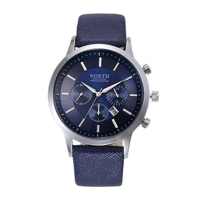 Luxury Men Watches Genuine Leather Sport style blue