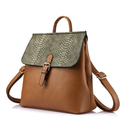 Women backpack with serpentine prints shoulder bags, schoolbag brown color