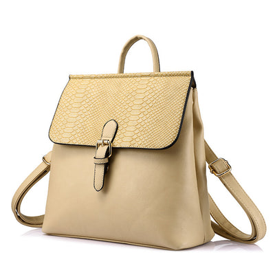 Women backpack with serpentine prints shoulder bags, schoolbag beige color