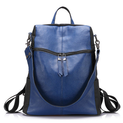 Cow Leather Backpack for Women navy blue color