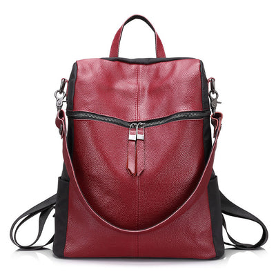 Cow Leather Backpack for Women red wine color