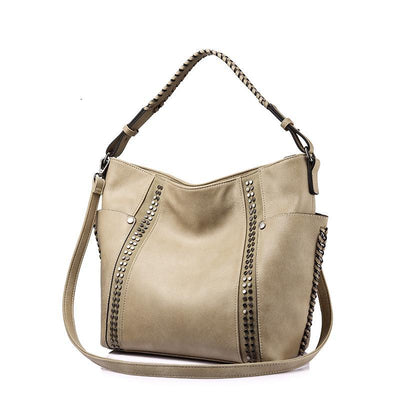 Women Shoulder Bags Chic Stripe Rivet beige color