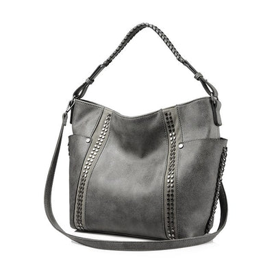 Women Shoulder Bags Chic Stripe Rivet grey color
