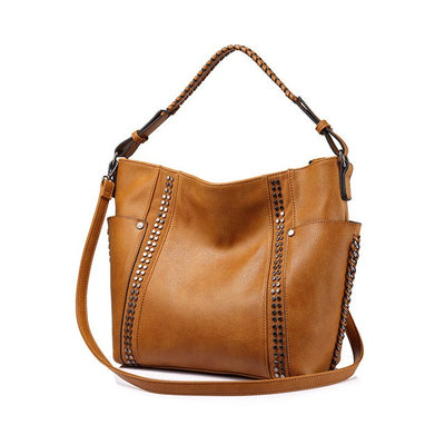 Women Shoulder Bags Chic Stripe Rivet brown color