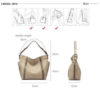 Women Shoulder Bags Chic Stripe Rivet