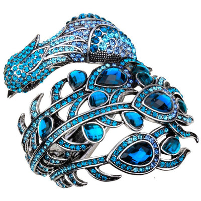 Peacock Bracelet Women Crystal Bangle Fashion Jewelry Blue Color