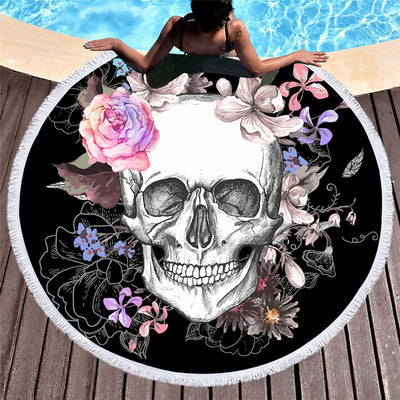 Round Beach Towel Awesome Rose Skull