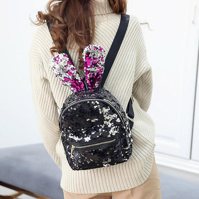 Cute Backpack for girls Sequins Rabbit Ears