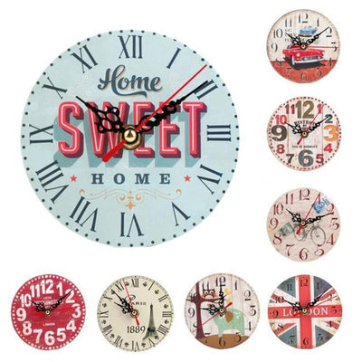 Wall Clock Antique Wood Vintage Style