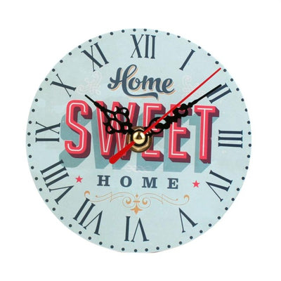 Wall Clock Antique Wood Vintage Style sweet home blue