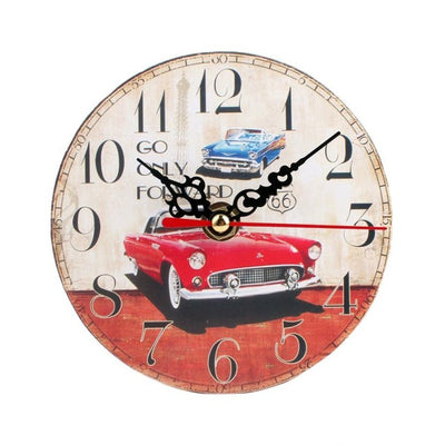 Wall Clock Antique Wood Vintage Style red car blackground