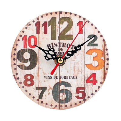 Wall Clock Antique Wood Vintage Style beige color