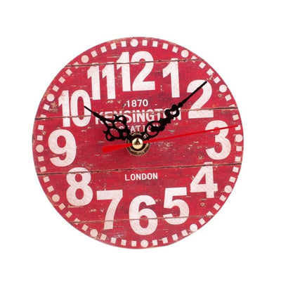 Wall Clock Antique Wood Vintage Style Red color