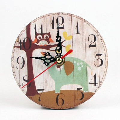 Wall Clock Antique Wood Vintage Style owl and elephant