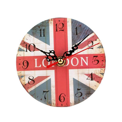 Wall Clock Wood Vintage Style London Flag