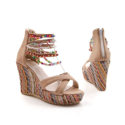 Women Shoes Bohemian Sandals Sweet Wedge Heels