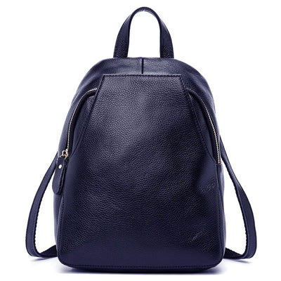 Dark Blue Leather Backpack for women
