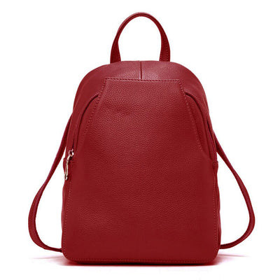 Red Leather Backpack for women