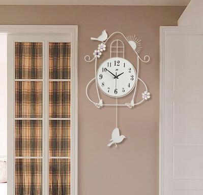 Decorative wall clock Bird and a cage design color white