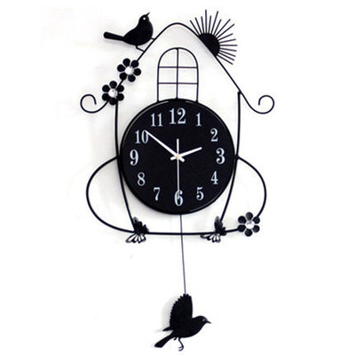 Decorative wall clock Bird and a cage design color Black