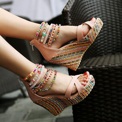 Women Shoes Bohemian Sandals Sweet Wedge Heels pink color