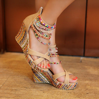 Women Shoes Bohemian Sandals Sweet Wedge Heels beige color
