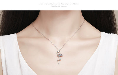 Elegant Flamingo Bird Pendant Necklaces