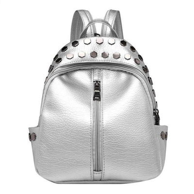 Silver Backpacks for women, Teens, Leather Bags