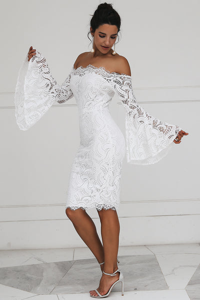 Off the shoulder Lace Dress, Long Flare Sleeve