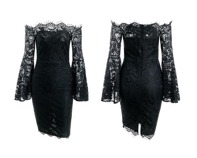 Long Flare Sleeve off the shoulder Lace Dress, black dress for women