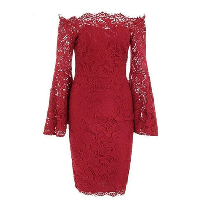 Long Flare Sleeve off the shoulder Lace Dress, red dress for women