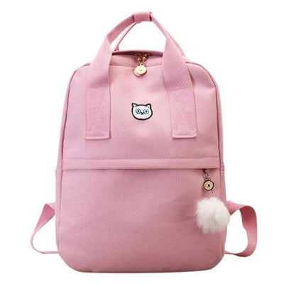 Pink Canvas Backpack for Girls Teens, School Bags, yellow bag