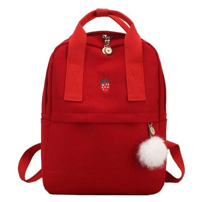 Red Canvas Backpack for Girls Teens, School Bags
