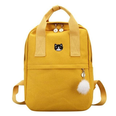 Canvas Backpack for Girls Teens, School Bags, yellow bag