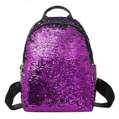Cute backpacks for Girls Teens Sequins style purple backpack
