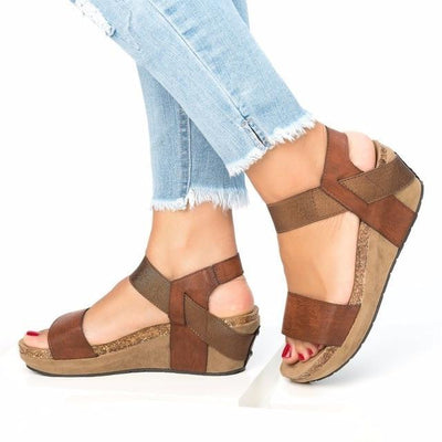 Women Shoes Sandals Platform Wedge style brown color