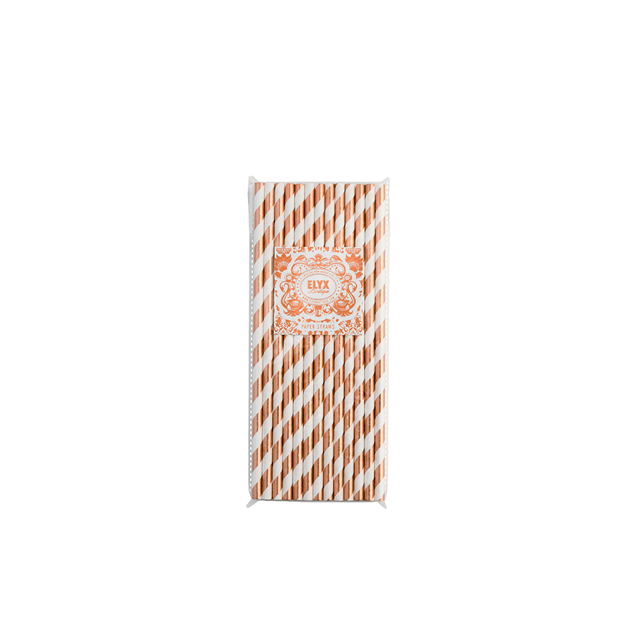 Copper Foiled Paper Straw Pack (25 units) Absolut Elyx Boutique