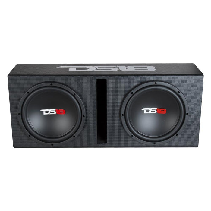 "BASS PACKAGE 2 x 12"" SUBWOOFER IN MDF ENCLOSURE WITH AMPLIFIER AND INSTALLATION KIT 1300 WATTS LOADED"