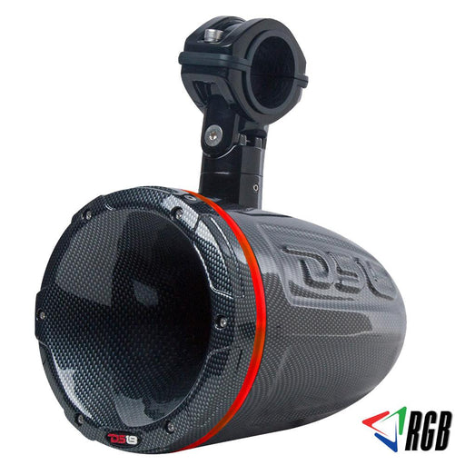 "HYDRO 1.75""  DRIVER WAKEBOARD POD TOWER SPEAKER WITH INTEGRATED RGB LED LIGHTS 900 WATTS BLACK CARBON FIBER (SINGLE)"