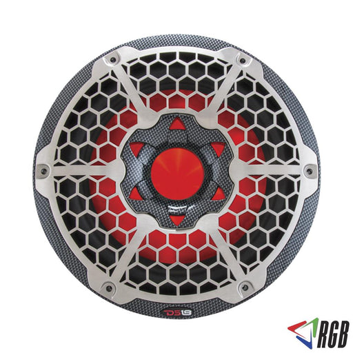 "HYDRO 10"" MARINE SUBWOOFER WITH INTEGRATED RGB LIGHTS 600 WATTS BLACK CARBON FIBER"