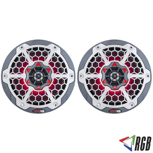 "HYDRO 6"" 2-WAY MARINE SPEAKERS WITH INTEGRATED RGB LED LIGHTS 375 WATTS BLACK CARBON FIBER (PAIR)"