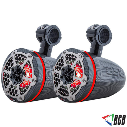 "HYDRO 6""  WAKEBOARD POD TOWER SPEAKER WITH INTEGRATED RGB LED LIGHTS 350 WATTS BLACK CARBON FIBER (PAIR)"