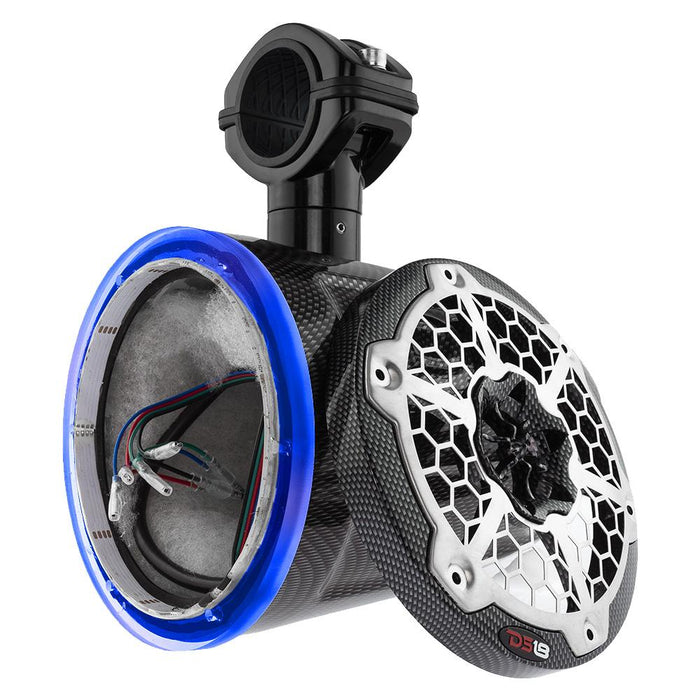"HYDRO 6""  WAKEBOARD POD TOWER WITH INTEGRATED RGB LED LIGHTS BLACK CARBON FIBER (SINGLE) (NO SPEAKERS)"