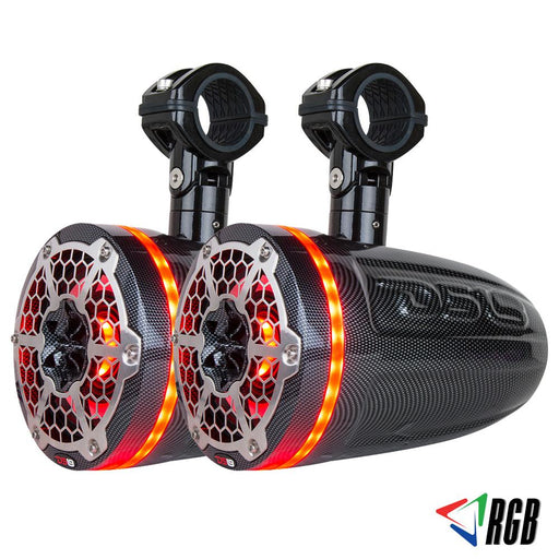 "HYDRO 8"" 2-WAY WAKEBOARD POD TOWER SPEAKERS WITH 1.5"" COMPRESSION DRIVER AND INTEGRATED RGB LIGHTS 550 WATTS BLACK CARBON FIBER (PAIR)"