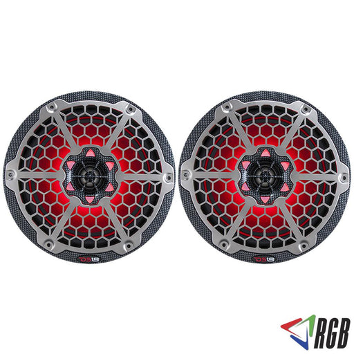 "HYDRO 8"" 2-WAY MARINE SPEAKERS WITH INTEGRATED RGB LED LIGHTS 450 WATTS BLACK CARBON FIBER (PAIR)"