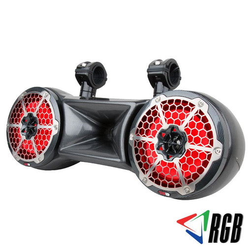 "HYDRO 8"" DOUBLE WAKEBOARD POD TOWER SPEAKER WITH 1.35 DRIVER SYSTEM AND INTEGRATED RGB LED LIGHTS 900 WATTS BLACK CARBON FIBER"